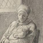 Zittende vrouw met baby bij een open raam, Jean François Millet, , ca. 1824 - ca. 1875